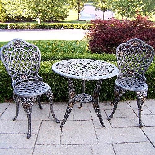 Oakland Living Corp Oakland Living Tea Rose Cast Aluminum Bistro Set, Verdigris, Aluminum