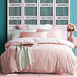 UFO Home Queen 600 TC 3-Piece Egyptian Cotton Zipper Closure Duvet Cover Set, Rose Quartz-AH