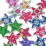 HOUSWEETY 50 Mix Holzknoepfe Weihnachtsstern Form 2 Loecher Patchwork Motivknoepfe