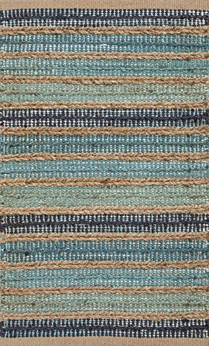 "Jaipurrugs Naturals Solid Pattern Jute/ Cotton Blue/Taupe Dudley Rectangle Area Rug Border Color Sea Glass 24""X40"" front-88344"