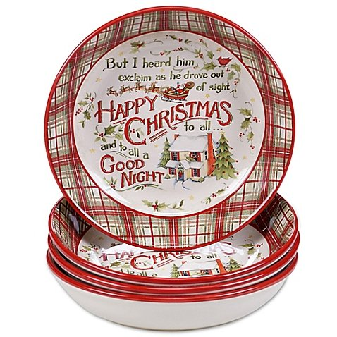 The Night Before Christmas Soup/Pasta Bowl Set of 4 (Susan Winget Pasta Bowls compare prices)