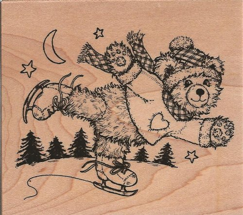 Fuzzy Bear Skating Wood Mounted Rubber Stamp (K2658)