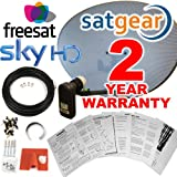 Satgear Sky/Freesat Zone 2 60cm HD Satellite Dish Kit with Brackets, Quad LNB, 20m Twin Cable, Fixings- Everything You Need + An Exclusive 2 Year Sategar Warrantyby Satgear