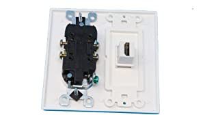 RiteAV (2 Gang Decorative) 15 Amp Round Power Outlet HDMI TV Wall Plate - White (Color: White)
