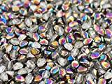 50psc Pinch - Czech Pressed Glass Beads Triquetrous 5x3.5mm, Crystal Vitrail