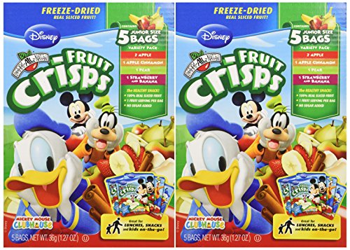 Disney Brothers All Natural Variety Pack - Fruit Crisps 2 Pack (1.23oz Each Box) - No Sugar Added (Freeze Dried Fruit Disney compare prices)