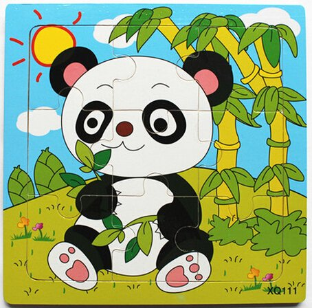 XQ111 9-piece Wooden Colorful Jigsaw Animal Puzzle, Panda