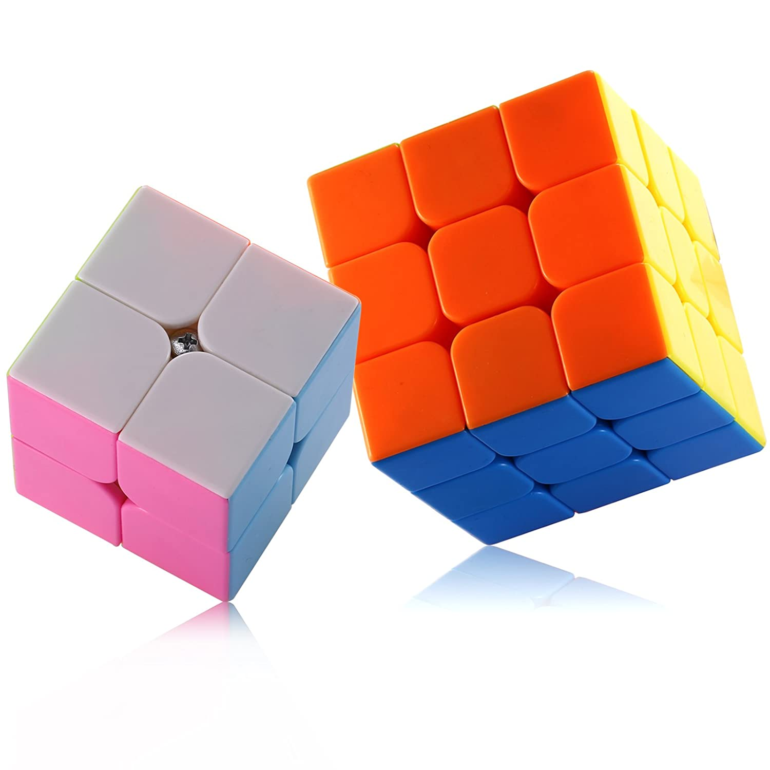 Dreampark 2 Pack 2x2 3x3 Anti-pop Speed Cube Stickerless Smooth Magic Cube Puzzles