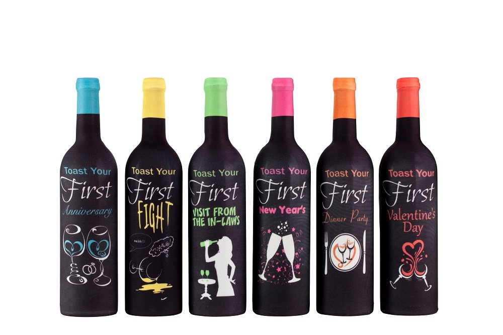 First Year of Marriage Milestones, Wine Bottle Covers – Bridal Gift – 6 Pack
