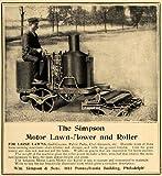 1906 Ad Antique Simpson Motor Lawn Mower Roller Riding - Original Print Ad