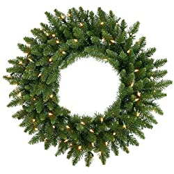 12' Pre-Lit LED Camdon Fir Commercial Artificial Christmas Wreath - Clear Lights