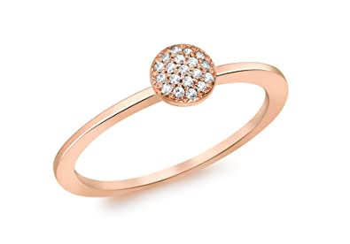 Carissima Gold 9 ct Rose Gold with Diamond Round Pave Ring