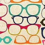Tela beis y parda con gafas retro vintage de Michael Miller