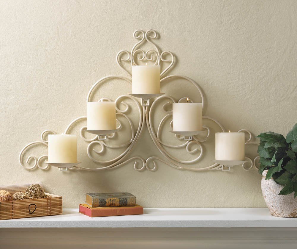 VINTAGE STYLE SCROLLWORK PILLAR CANDLE HOLDER IVORY WHITE WALL SCONCE 0