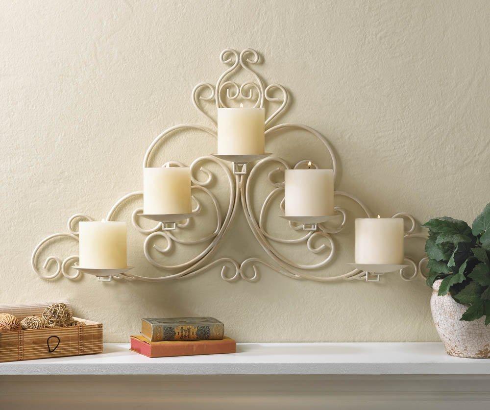 Vintage Style Scrollwork Pillar Candle Holder Ivory White