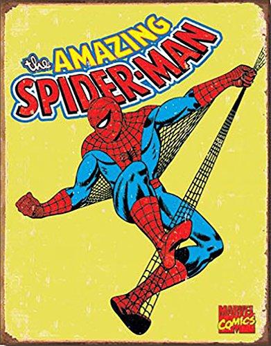Spiderman Retro Marvell Comics Retro Vintage Decor Tin Sign 12.5 in Wx16 in H