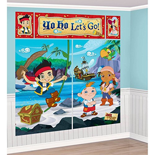 Disney Junior Jake and the Neverland Pirates Scene Setter Wall Decorations Kit - Kids Birthday and Party Supplies Decoration