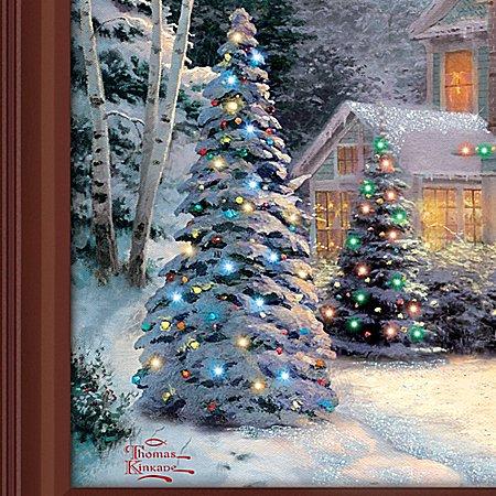 Thomas kinkade victorian family christmas illuminated for Christmas wall art amazon