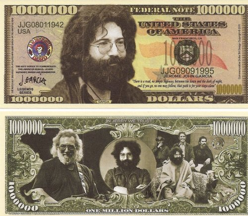"Jerry Garcia ""Grateful Dead"" $Million Dollar$ Novelty Bill Collectible"