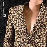 (ブラックバリア) BLACK VARIA ヒョウ豹柄 コーデュロイ テーラードジャケット 931008 L ベージュブラウン