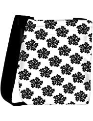 Snoogg Black Floral Pattern Designer Womens Carry Around Cross Body Tote Handbag Sling Bags