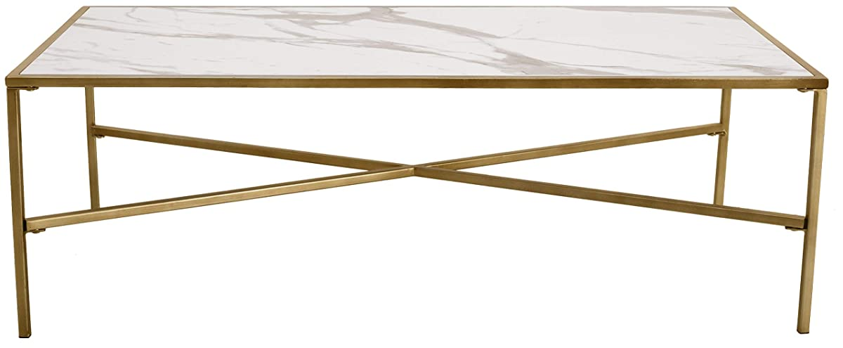 """Ravenna Home Parker Coffee Table, 47.2""""W, Marble & Gold"""