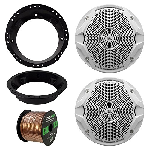 98-13 Harley Speaker Bundle: 2x JBL MS6510 6.5-Inch 150 Watt Silver Car Marine Stereo Coaxial Speakers Combo With Mounting Rings For Motorcycles + Enrock 50 Foot 16 Gauge Speaker Wire (Jbl Speaker Repair Kit compare prices)