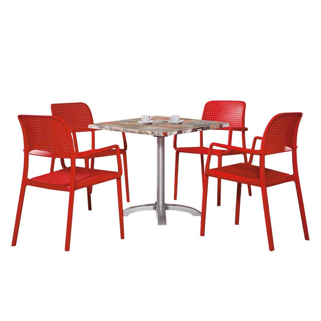 BEST 91150064 5-teilig Gartenmöbel Set Locarno rot und Maestro 80 x ...