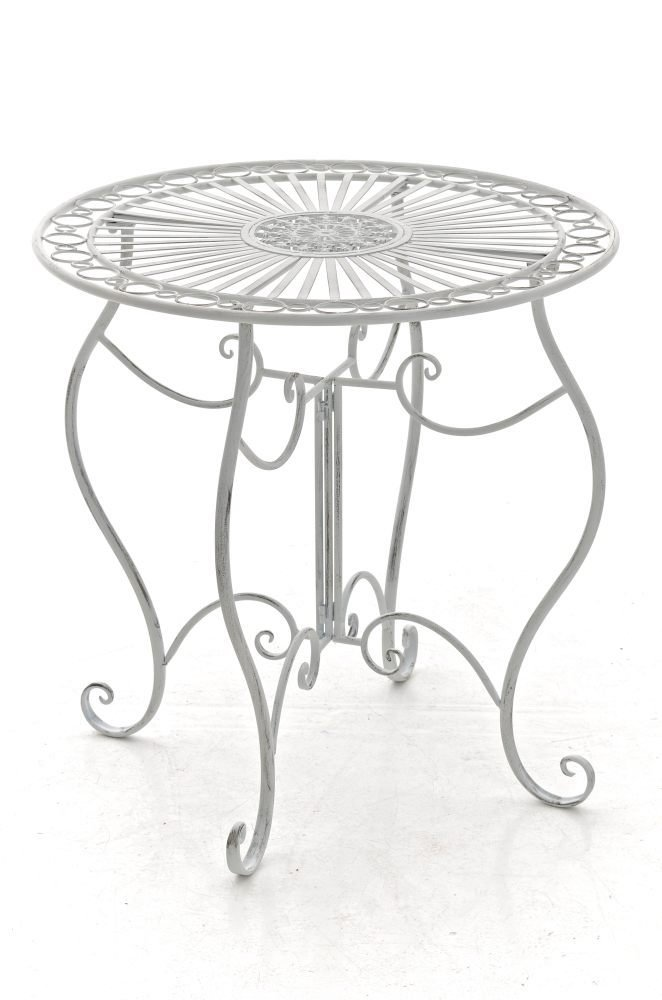 CLP handgefertigter runder Eisentisch INDRA in nostalgischem Design, Durchmesser 70 cm (aus bis zu 6 Farben wählen) antik weiß Überprüfung und Beschreibung