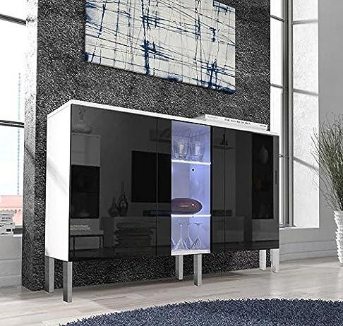 Letti e Mobili – Credenza modello Salve colore bianco e nero con 6 basi in alluminio di 10cm