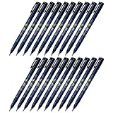 Tombow Fudenosuke Brush Pen (GCD-111), Hard Tip, Blue Body, Value Set of 20 (Color: Hard Tip (Black), Tamaño: 20-pack)