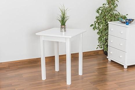 Massivholz Esstisch 60x60 cm Kiefer, Farbe: Weiß