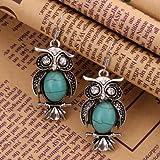 YAZILIND Jewelry Charming Crystal Tibetan Silver Turquoise Owl Drop Dangle Earrings for Women & Girls