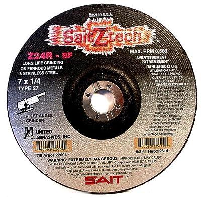 SAIT 22614 Type 27 7-Inch x 1/4-Inch x 5/8-11 8500 Max RPM Z-Tech - Z24R Zirconium Depressed Center Grinding Wheels, 10-Pack