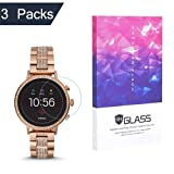 Tempered Glass Screen Protector foreaya 9H Hardness Protective Glass Compatible Fossil Q Venture HR Gen 4,2.5D Full Coverage High Definition Premium Clear Smartwatch Accessories[3 Packs]