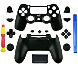 SN-RIGGOR Replacement Matte Black Full Housing Shell Case with Full Buttons Thumbsticks Bullet & D-pad Mod Kit For PS4 Pro Slim For Sony Playstation 4 Dualshock 4 PS4 Slim Pro Wireless Controller (Color: Black, Tamaño: m)
