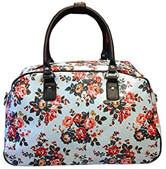 Gossip Girl - Oilcloth Holdall Weekend Overnight Bag Hand Luggage Cabin Bag 25L- Polka Dot Spot / Flower (Floral - Baby Blue)