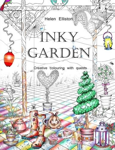 Inky Garden: Creative colouring with quests & 3D paper flower: Volume 2 (Inky Colouring books)
