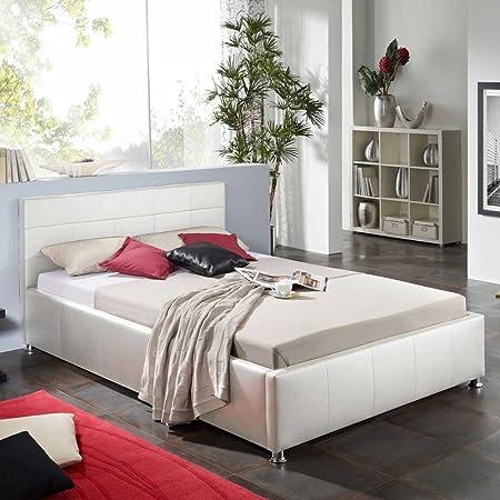 Einzelbett in Weiß Kunstleder Pharao24