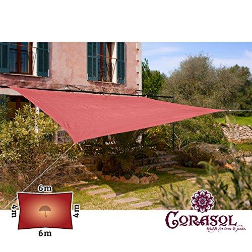 Corasol COR11RE6X4-RR - Vela de sombra para patio (resistente al agua), color rojo, 6 x 4 m