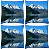 Snoogg White Hill Top Pack Of 4 Digitally Printed Cushion Cover Pillows 18 X 18 Inch