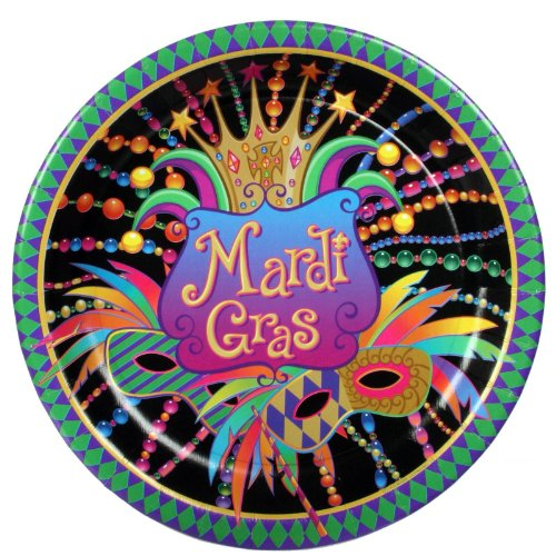 Mardi Gras Extra Large Paper Plates (8ct)