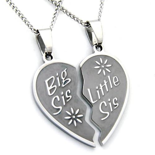 Big Sis Lil Sis Necklace – Big Sis & Lil Sis Break Apart Heart Pendant 2 Half Hearts (2) 18 Inch Chains