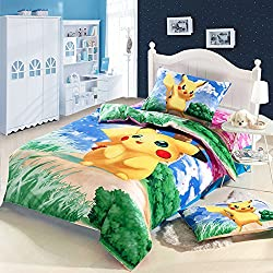 YOYOMALL Exported to Japan Cartoon Anime Pokemon Pikachu 3 Piece Bedding Sets for Teens,Pikachu Bedding Set,Kids Cartoon Anime Bedding Sets.