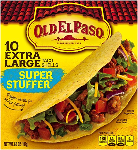 Old El Paso Super Stuffer Extra Large Taco Shells, Gluten Free, 6.6 Ounce Boxes, 10 Count (Pack of 2) (Taco Cheese compare prices)