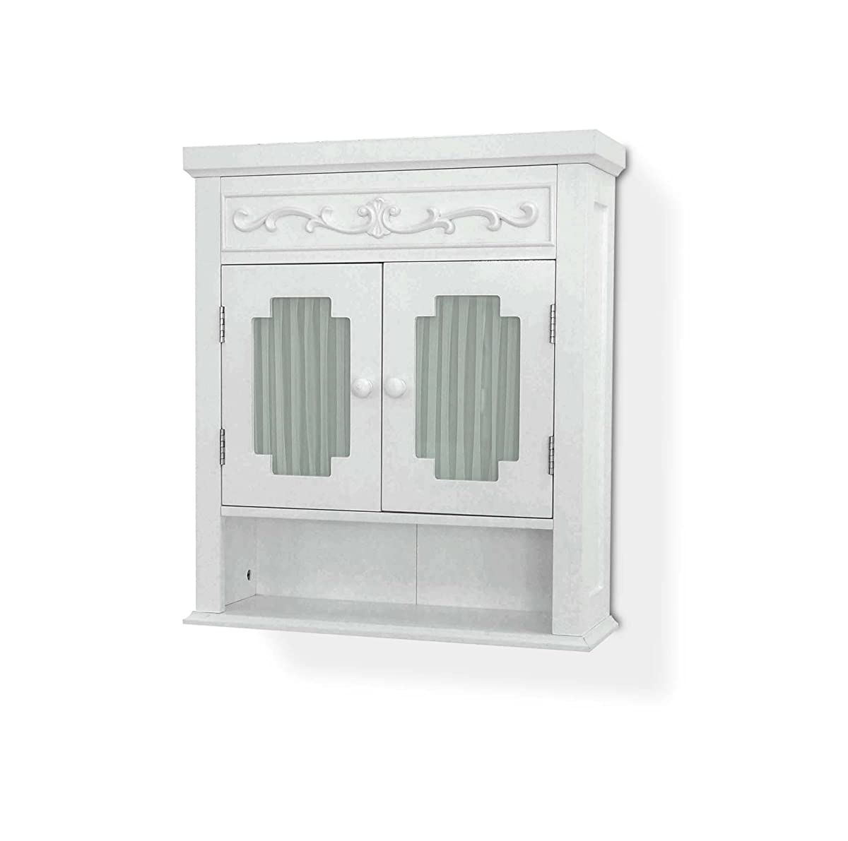 Elegant Home Fashions Lisbon Collection Shelved Wall Cabinet with Glass-Paneled Doors, White