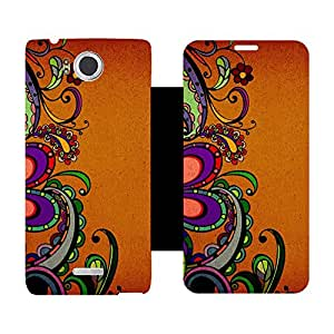 Skintice Designer Flip Cover with Vinyl wrap-around for Infocus M530, Design - floral pattern