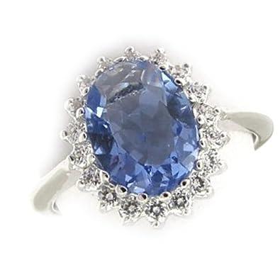 USA vendeur Infinity Bague Rhodium Plaqué Argent Sterling 925 Saphir Bleu