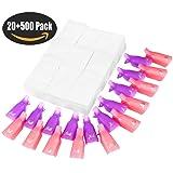 Nail Polish Remover Clips Set, ESARORA Nail Art Polish Remover Wrap 20 Pack with 500 Pack Nail Wipe Cotton Pads