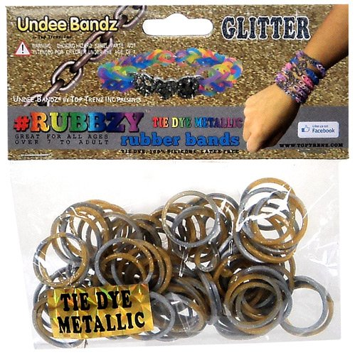 Undee Bandz Rubbzy 100 METALLIC GOLD & SILVER GLITTER Tie-Dye Rubber Bands with Clips